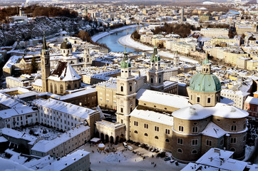 Panorama of Salzburg in winter time