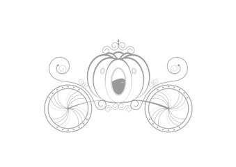 Carrosse de princesse - sticker gris