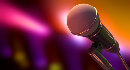Microphone On Color Background