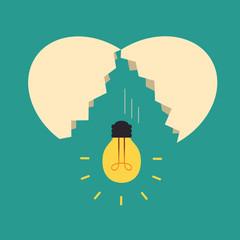 Broken egg with light bulb Idea, Idea concept