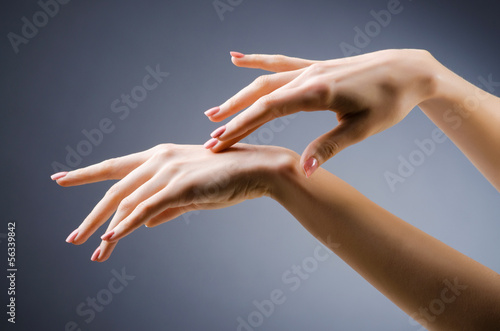 Woman hands against gradient background