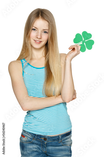 Young female holding leaf symbol