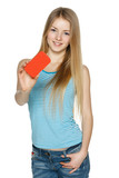 Young blond female holding blank card
