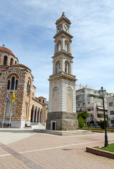 The clock tower of St. Nicholas cathedral, Volos, Greece