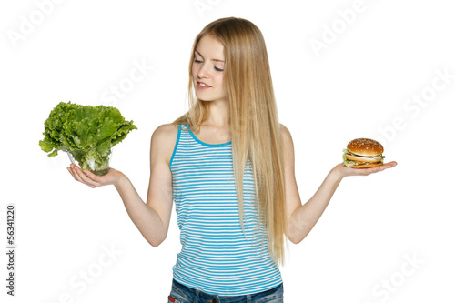 Making decision between healthy salad and fast food