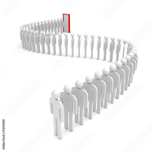 A queue of abstract people waiting near the red door. 3d render