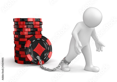 Man attached to Casino chips  (clipping path included)