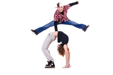 Pair of dancers dancing modern dances
