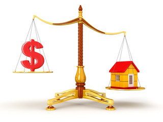 Justice Balance  with Dollar and house (clipping path included)