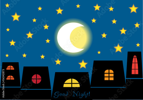 good night, vector cartoon illustration