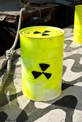 Barrel with radioactive symbol