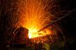 Leinwandbild Motiv Sparks from coal in a forge