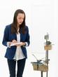 female journalist at sculpture exhibition
