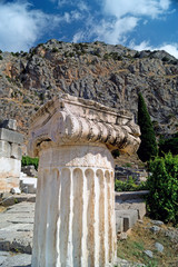 Single ionic order capital at Delphi archaeological site in Gree
