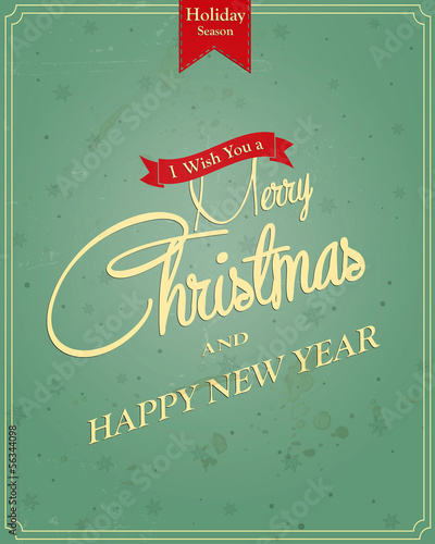 Typography Christmas Greeting Card. Vector
