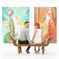 happy couple in art gallery