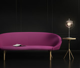 Contemporary dark elegant living room, with a purple grey sofa,