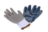 Gray and blue protective gloves.
