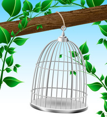 Bird cage on a tree branch