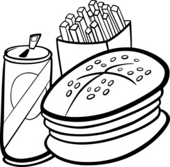 fast food cartoon for coloring book