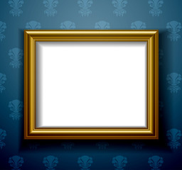 Gold frame on wall