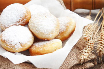 Donuts homemade with powdered sugar