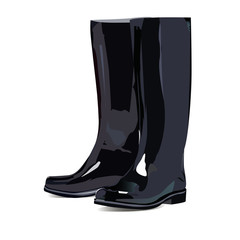 Black rubber boots with white background.