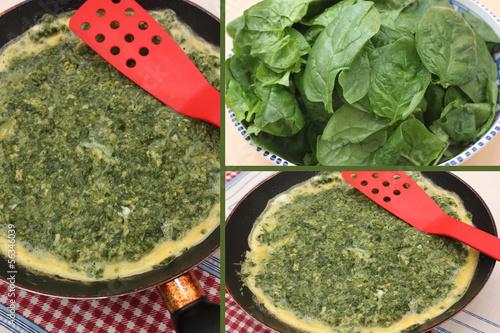 Omelette aux pousses d'épinard