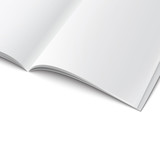 Close-up of blank opened magazine template.