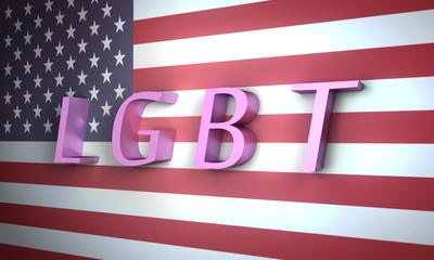 LGBT 3D on American Flag