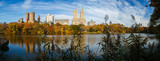 Panoramic view of Central Park Lake at fall