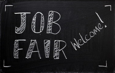 Job Fair welcome on a blackboard sign