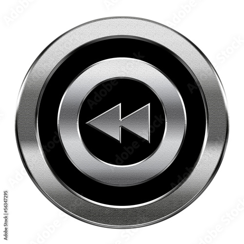 Rewind Back icon silver, isolated on white background.