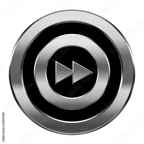 Rewind Forward icon silver, isolated on white background.