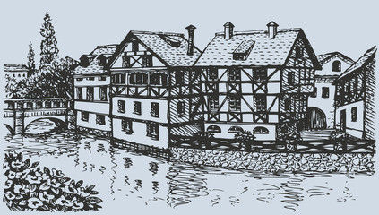 Vector cityscape. Street with old half-timbering houses of Europ