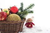 Christmas сomposition with christmas decorations in basket and