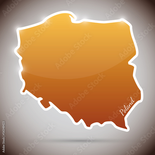vintage sticker in form of Poland