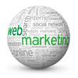 """WEB MARKETING"" Tag Cloud Globe (online internet e-advertising)"