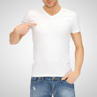 man in blank white t-shirt