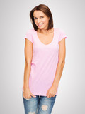 woman in blank pink t-shirt