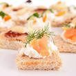 assortment of canapes, toast