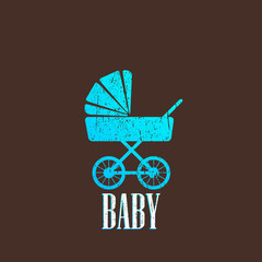 vintage illustration with a baby pram