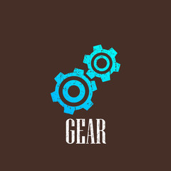 vintage illustration with a gear icon