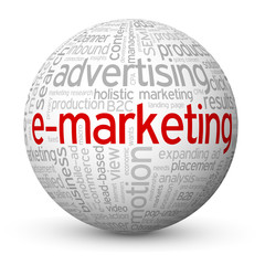 """E-MARKETING"" Tag Cloud Globe (e-mail web online advertising)"
