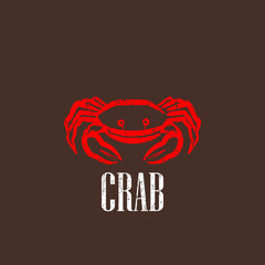 vintage illustration with a red crab