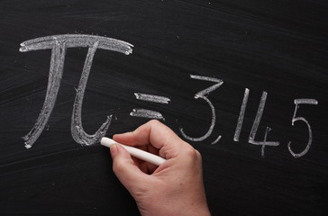 Writing the Pi Symbol on a Blackboard