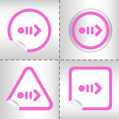 icon set of arrows on sticker button different forms