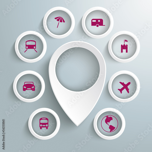White Location Marker 8 Circles WithTravel Icons PiAd