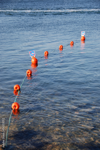 No swimming buoy warning signs