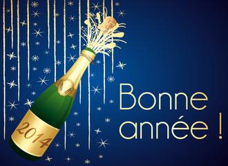 Bonne année 2014 ! Carte de voeux bleue et dorée.